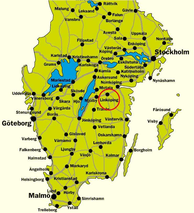 Map Of Southern Sweden - Sweden map halmstad